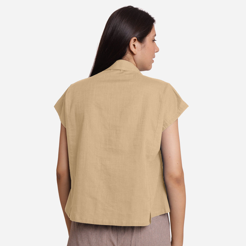 Back View of a Model wearing Beige Deep Neck Button-Down Cotton Top