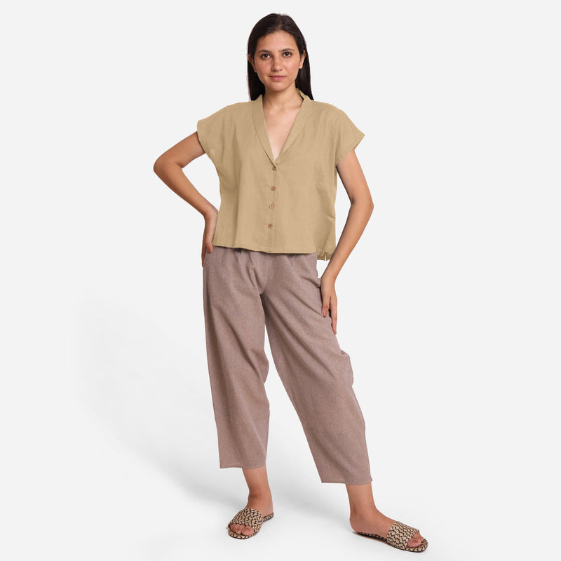 Front View of a Model wearing Beige Deep Neck Button-Down Cotton Top