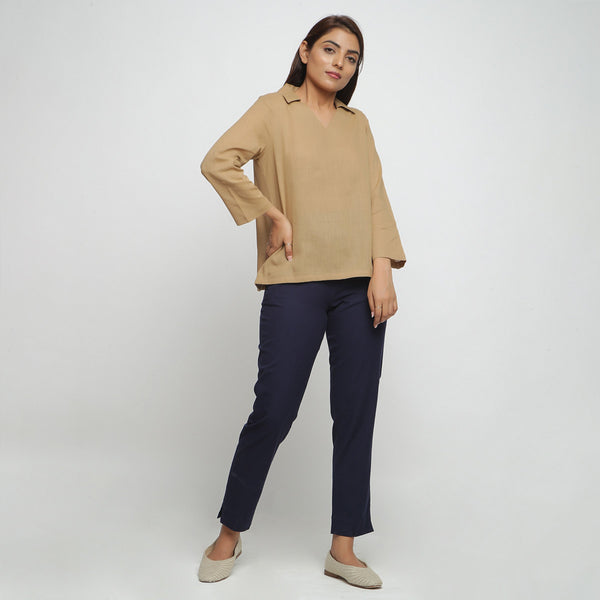 Front View of a Model wearing Beige Everyday Essential Straight Top