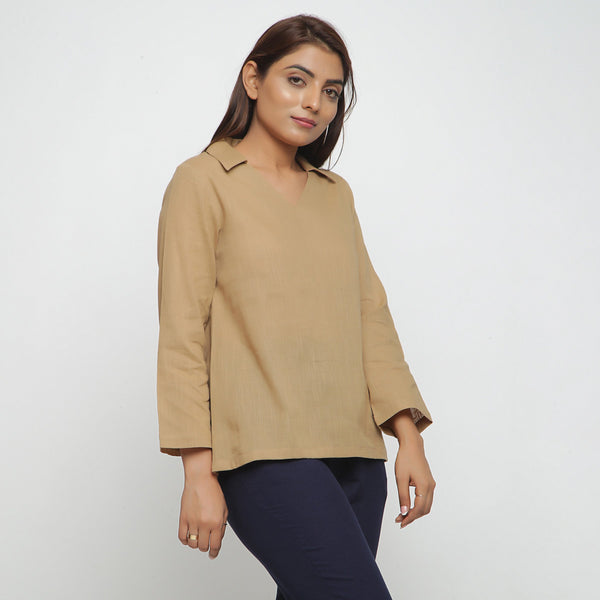 Right View of a Model wearing Beige Everyday Essential Straight Top