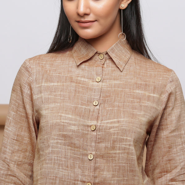 Front Detail of Model wearing Beige Handspun Button-Down Shirt