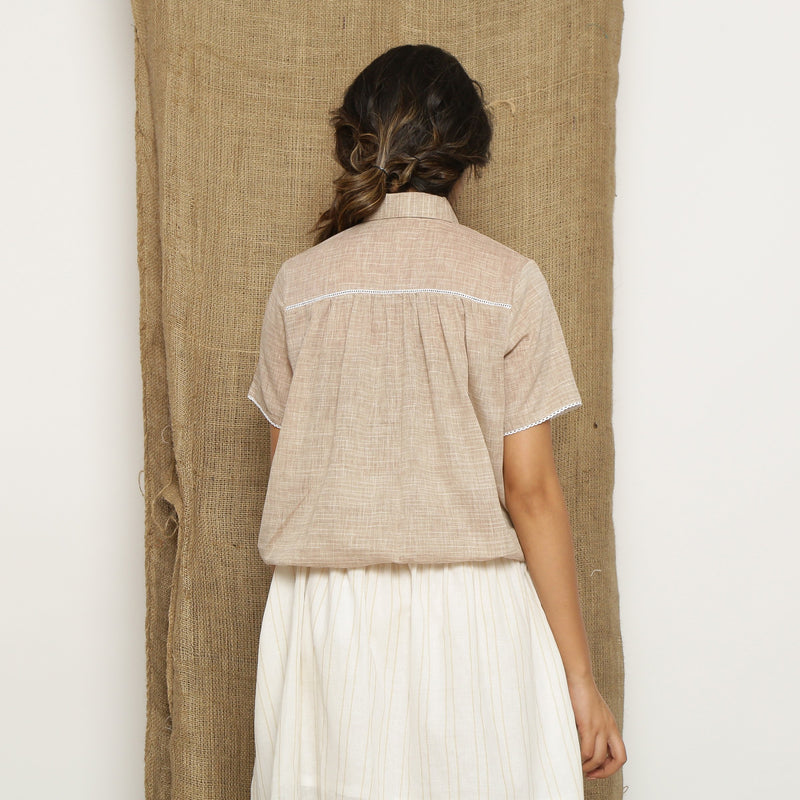 Back View of a Model wearing Beige Handspun Comfort Fit Balloon Top