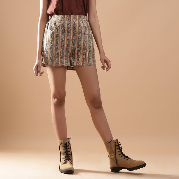 Front View of a Model wearing Beige Kalamkari Comfort Fit Shorts