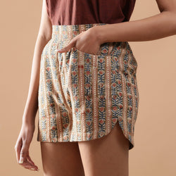 Left  Detail of a Model wearing Beige Kalamkari Comfort Fit Shorts