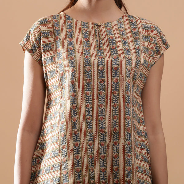 Front Detail of a Model wearing Beige Kalamkari A-Line Striped Top