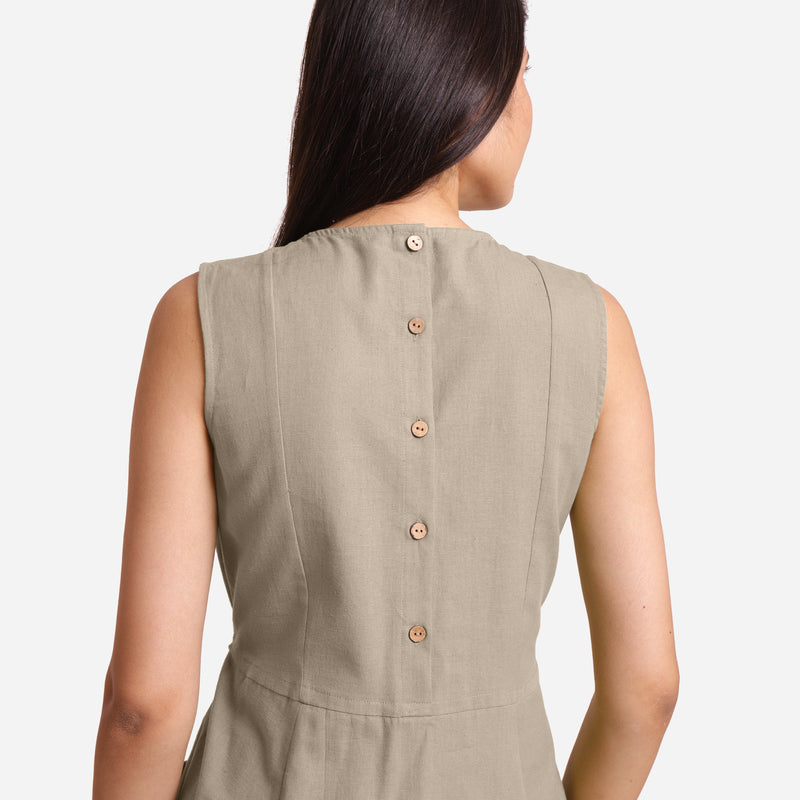 Back Detail of a Model wearing Beige Patch Pocket Round Neck Dress