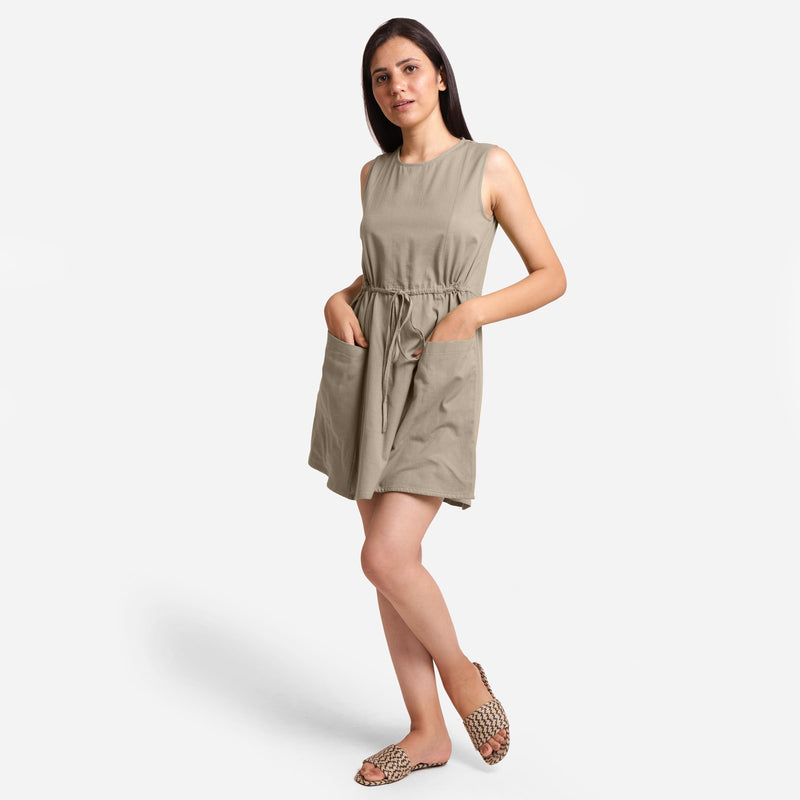 Front View of a Model wearing Beige Patch Pocket Round Neck Dress