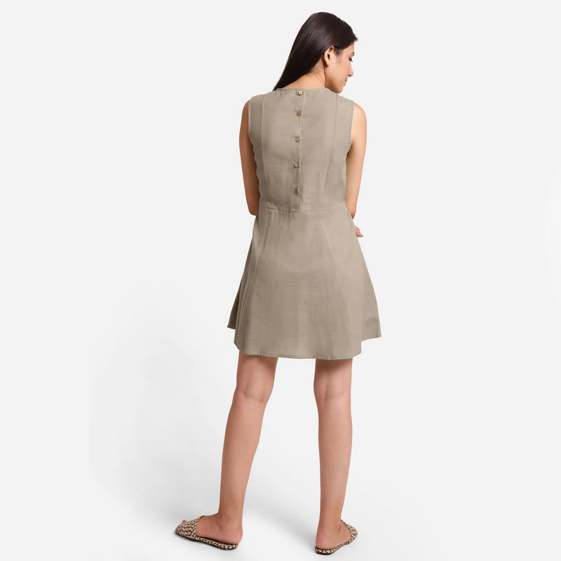Beige Patch Pocket Round Neck Dress