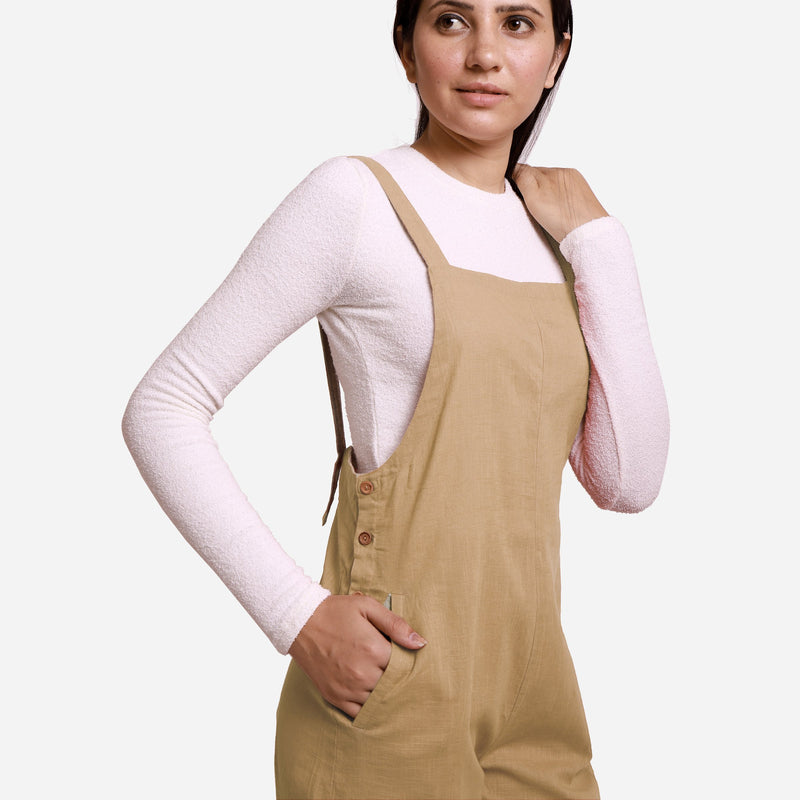Right Detail of a Model wearing Beige Pinafore Midi Length Dungaree