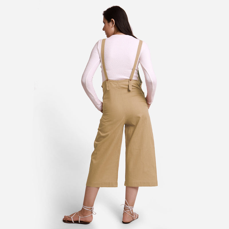 Back  View of a Model wearing Beige Pinafore Midi Length Dungaree