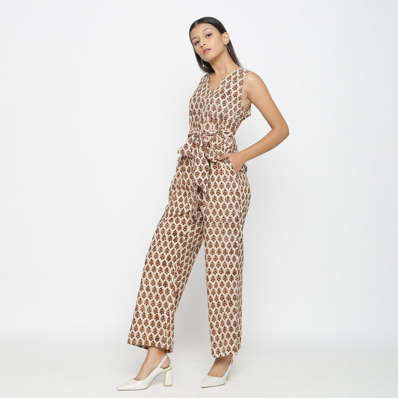 Left View of a Model wearing Bagru Print Beige Floral Jumpsuit