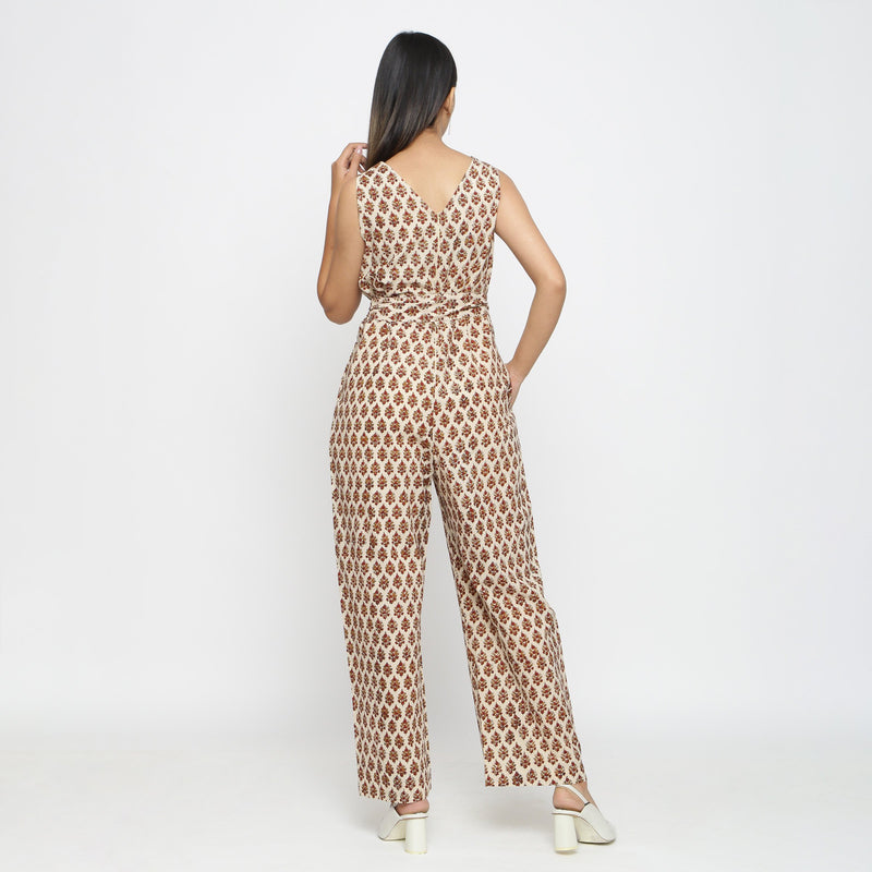 Back View of a Model wearing Bagru Print Beige Floral Jumpsuit