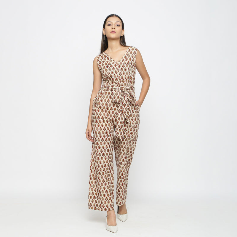 Front View of a Model wearing Bagru Print Beige Floral Jumpsuit
