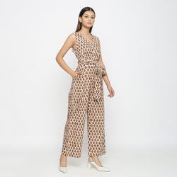 Right View of a Model wearing Bagru Print Beige Floral Jumpsuit