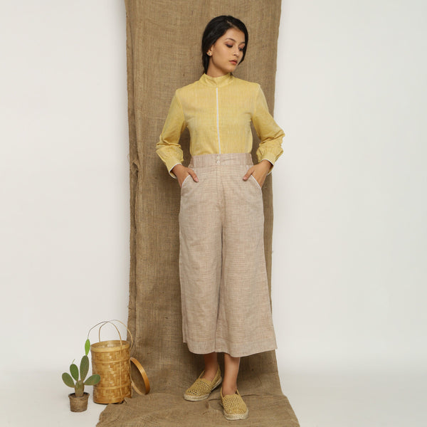 Front View of a Model wearing Beige Handspun Cotton Wide Legged Culotte