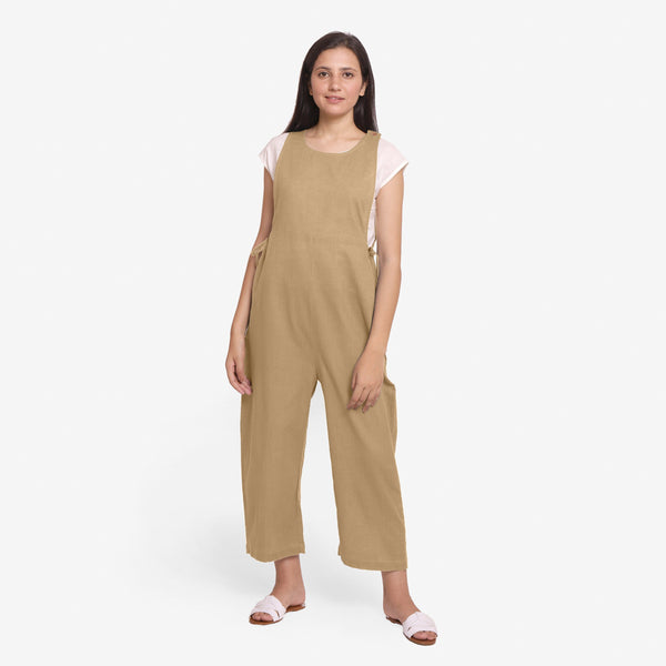 Front View of a Model wearing Beige Waist Tie Up Pinafore Jumpsuit