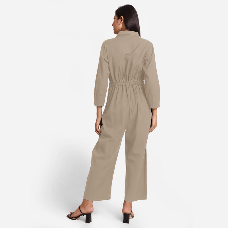 Back View of a Model wearing Beige Wide Legged Cotton Overall