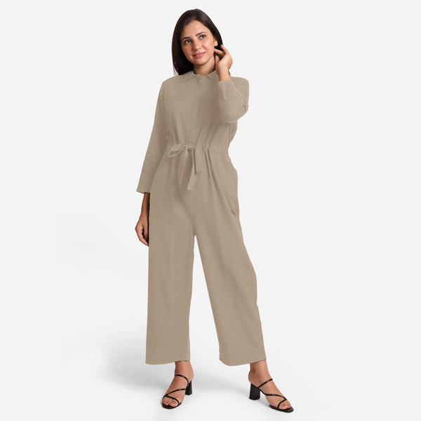 Front View of a Model wearing Beige Wide Legged Cotton Overall