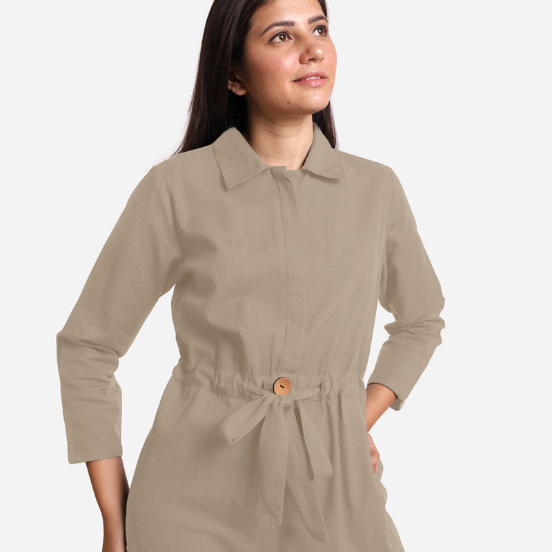 Front Detail of a Model wearing Beige Wide Legged Cotton Overall