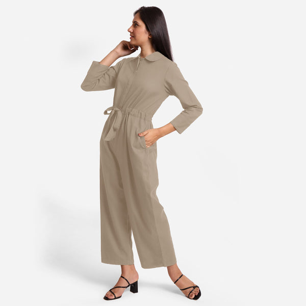 Left View of a Model wearing Beige Wide Legged Cotton Overall