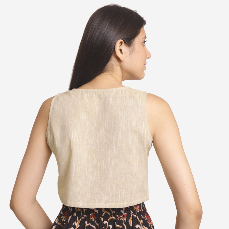 Back View of a Model wearing Solid Beige Yarn Dyed Cotton Crop Top