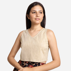 Front View of a Model wearing Solid Beige Yarn Dyed Cotton Crop Top