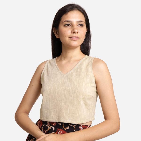 Front View of a Model wearing Beige Yarn-Dyed Cotton Crop Top