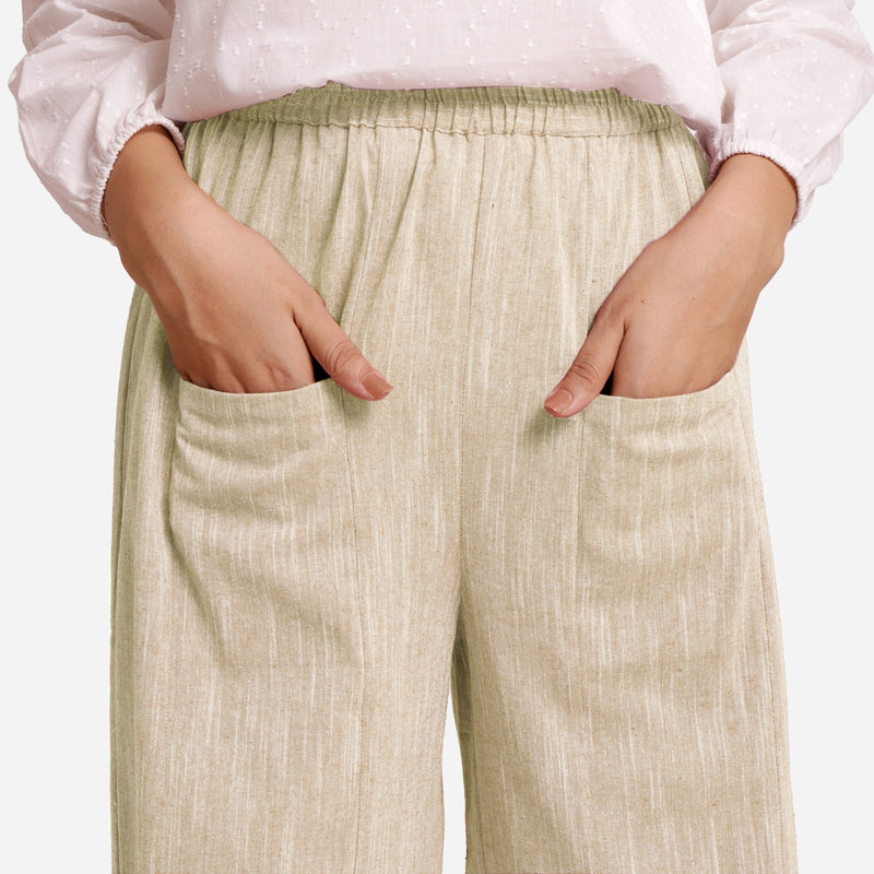 Beige Yarn Dyed Cotton Harem Pant