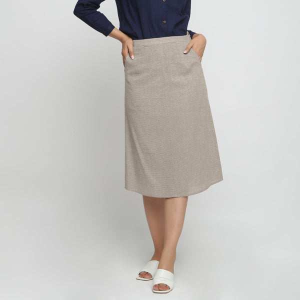 Front View of a Model wearing Beige Yarn Dyed Cotton Straight Skirt