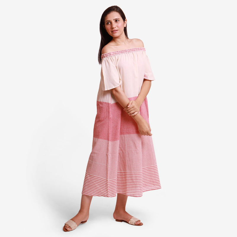 Right View of a Model wearing Pink Off Shoulder Cotton Maxi Dress