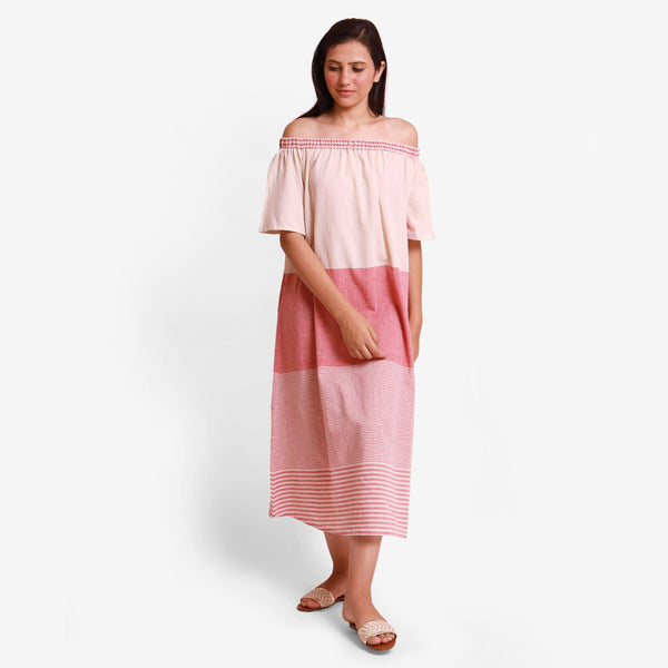Front View of a Model wearing Pink Off Shoulder Cotton Maxi Dress