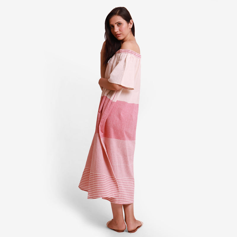 Left View of a Model wearing Pink Off Shoulder Cotton Maxi Dress