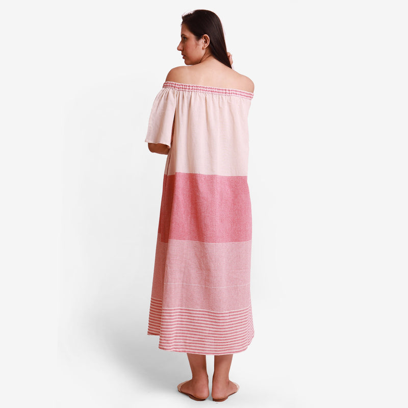 Back View of a Model wearing Pink Off Shoulder Cotton Maxi Dress