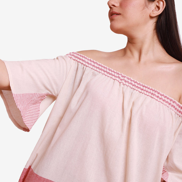 Front Detail of a Model wearing Pink Off Shoulder Cotton Maxi Dress