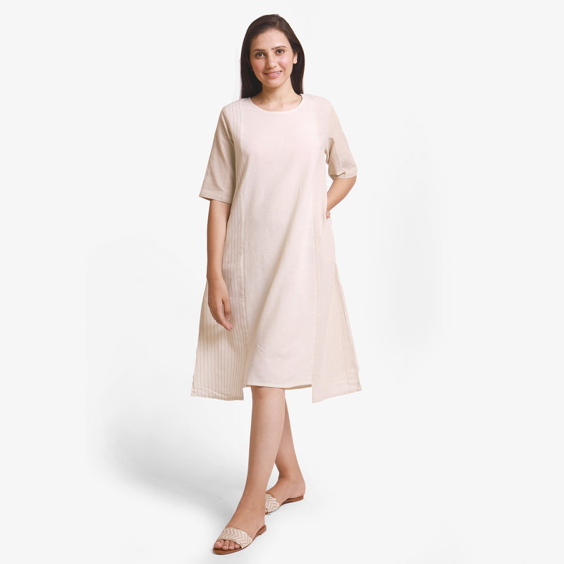 Front View of a Model wearing Beige Yarn Dyed Cotton Paneled Dress