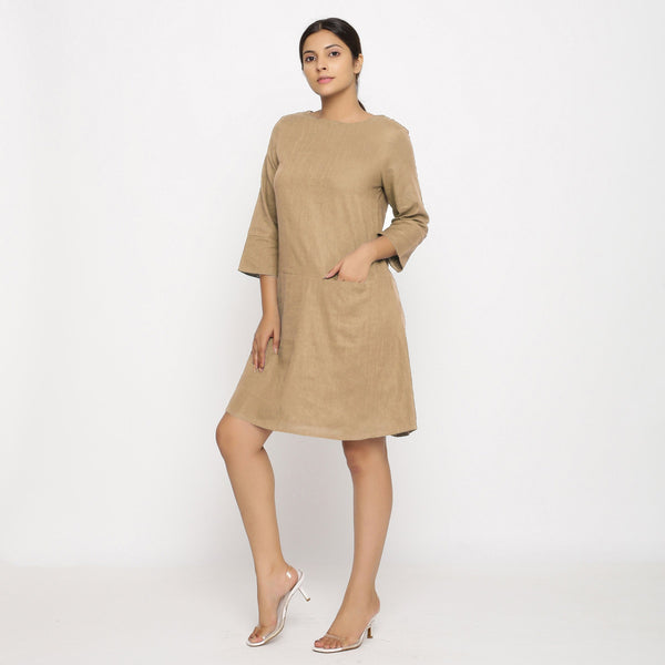 Front View of a Model wearing Beige Yoked Cotton Tunic Dress