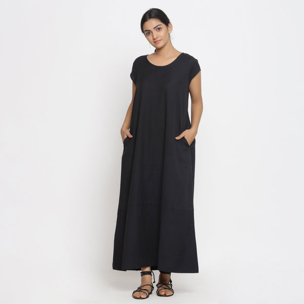 Front View of a Model wearing Black Cotton Flax A-Line Paneled Dress