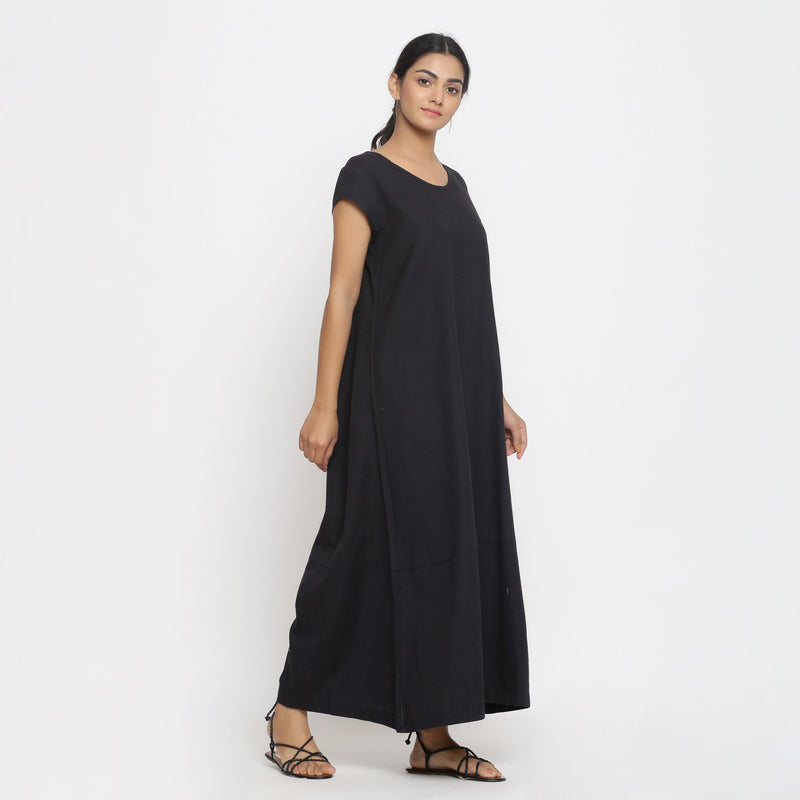 Right View of a Model wearing Black Cotton Flax A-Line Paneled Dress