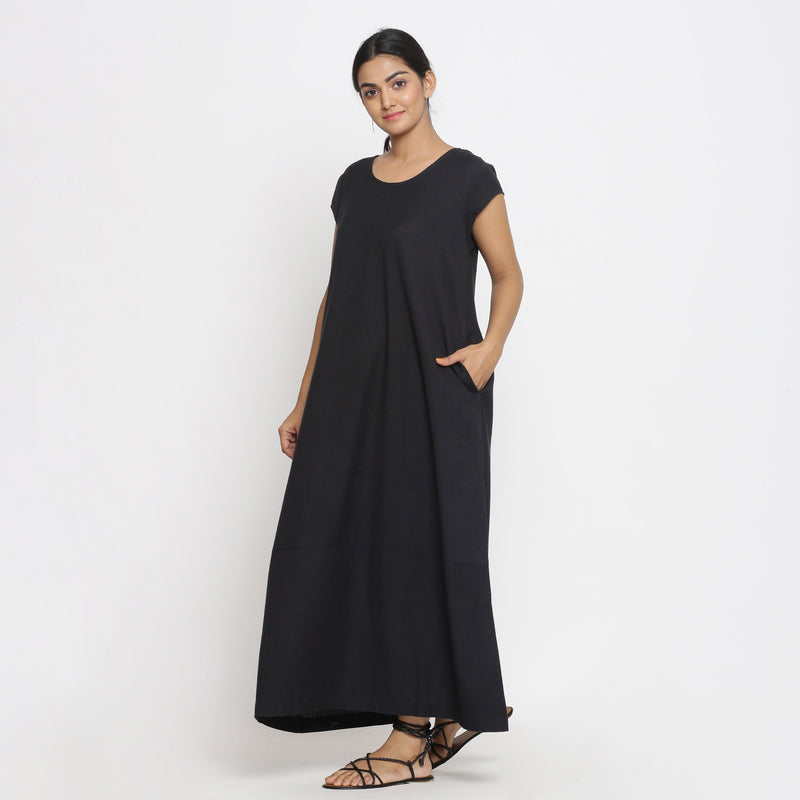 Left View of a Model wearing Black Cotton Flax A-Line Paneled Dress