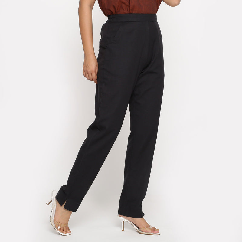 Right View of a Model wearing Solid Black Cotton Flax Straight Pant