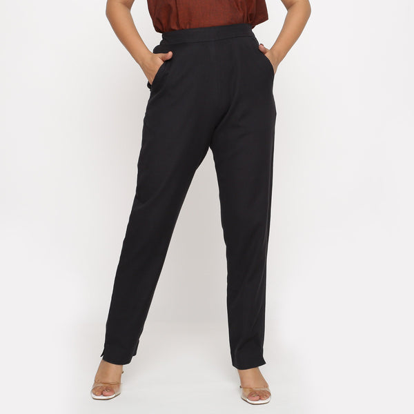 Front View of a Model wearing Black Cotton Flax Straight Pant