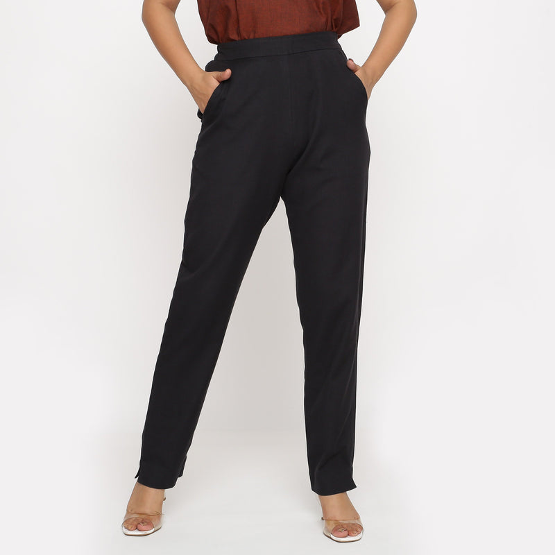 Front View of a Model wearing Solid Black Cotton Flax Straight Pant