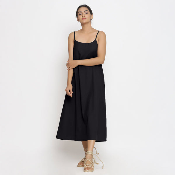 Front View of a Model wearing Black Cotton Flax Strap Sleeve A-Line Dress