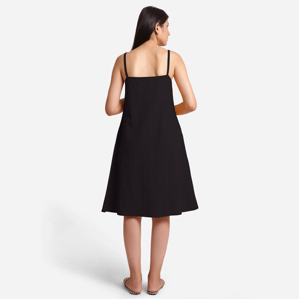 Back View of a Model wearing Black Cotton Flax Strappy Slit Dress