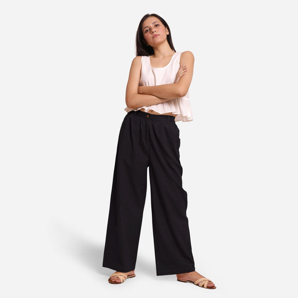 Front View of a Model wearing Black Cotton Flax Wide Legged Straight Pant