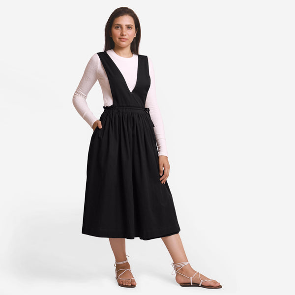 Black Deep Neck Pinafore Midi Wrap Dress