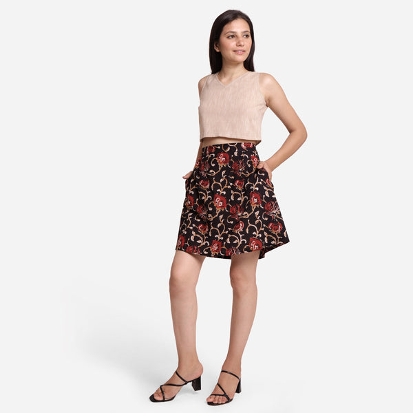 Left View of a Model wearing Black Floral A-Line Flared Short Skirt