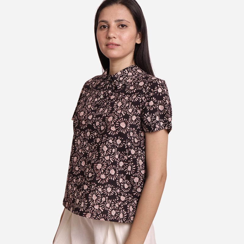 Left View of a Model wearing Bagru Block Print Button-Down Shirt