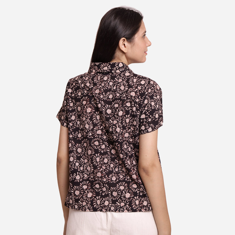 Back View of a Model wearing Bagru Block Print Button-Down Shirt