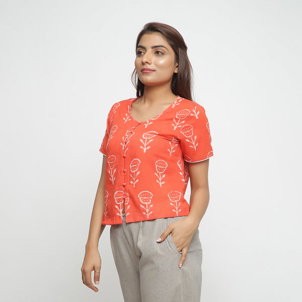 Front View of a Model wearing Dabu Print Relaxed Sleeves Button-Down Top